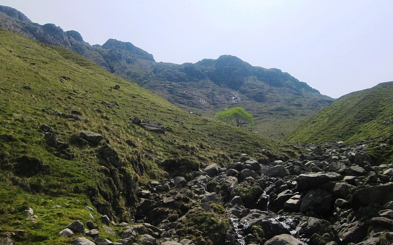 Allen Crags from the Grains Gill past the lower canyon