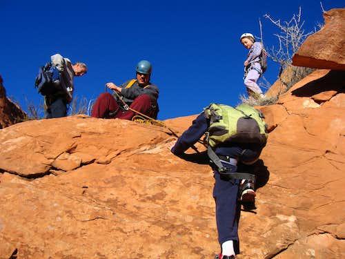 Kessler descending the 12 foot drop