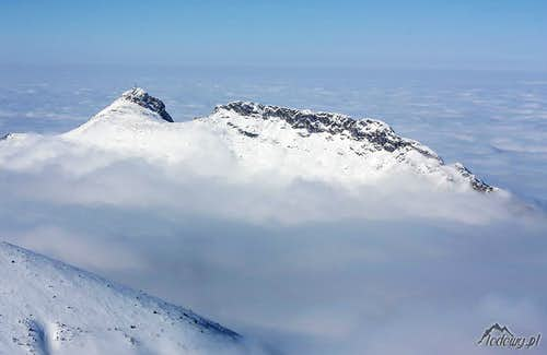 Giewont ridge above the clouds