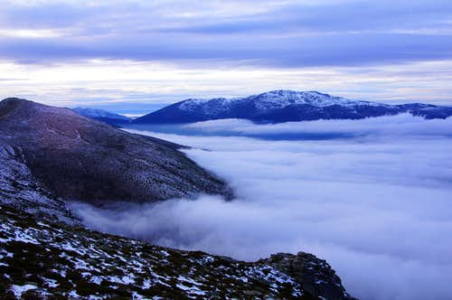 Macizo de Peñalara over the sea of clouds
