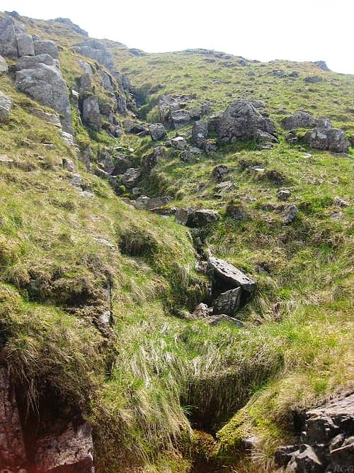 The Grains Gill fades away high on Allen Crags