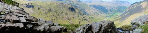 Panoramic view of the Grains Gill valley