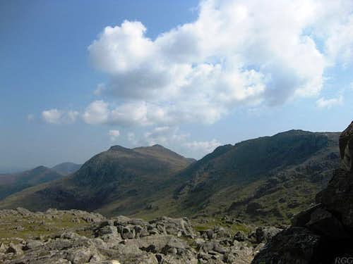 Bowfell and Esk Pike from the Allan Crags summit plateau