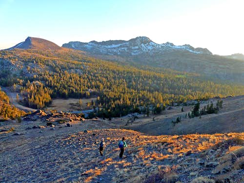 Hikers descending to Carson Pass from Red Lake Peak