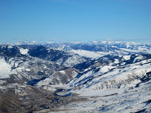 The town of Gardiner, Montana, with the Absaroka range in the background. Seen from the north flank of Electric Peak