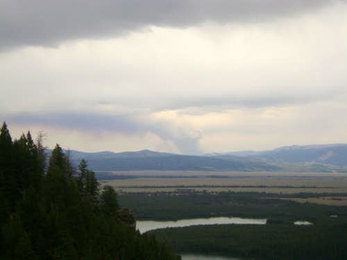 Wildfire visible from the CMC route of Mount Moran, Teton Range