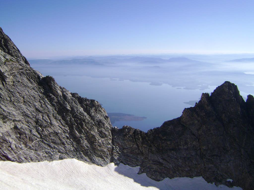 Jackson Lake seen from the CMC route of Mount Moran, Teton Range.