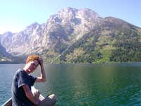 Canoeing across Leigh Lake, to the base of Mount Moran, Teton Range
