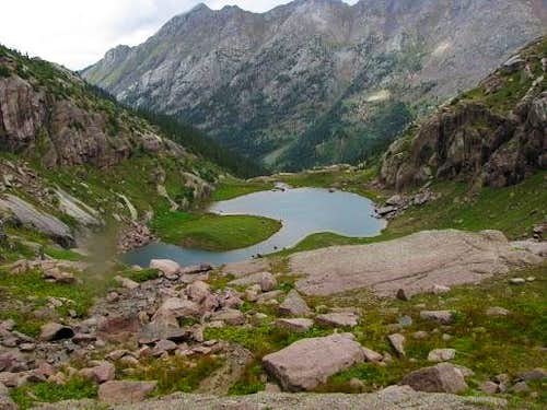 unnamed lake below Twin Thumbs Pass, Noname Basin, San Juan Range, CO