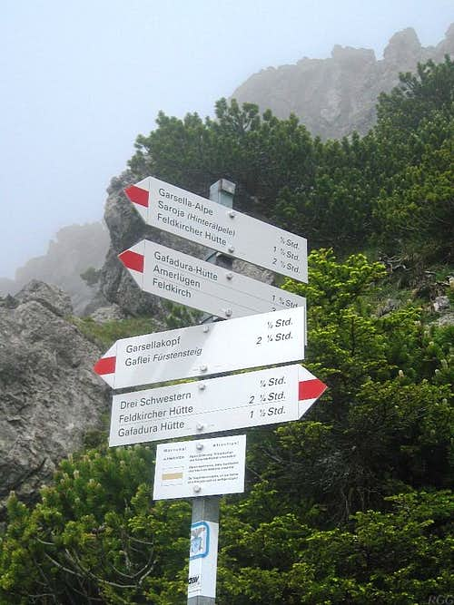 Route signs near the ridge