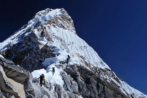Climbers on the SW Ridge of Ama Dablam