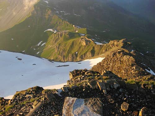The Pfälzerhütte from the summit of Naafkopf