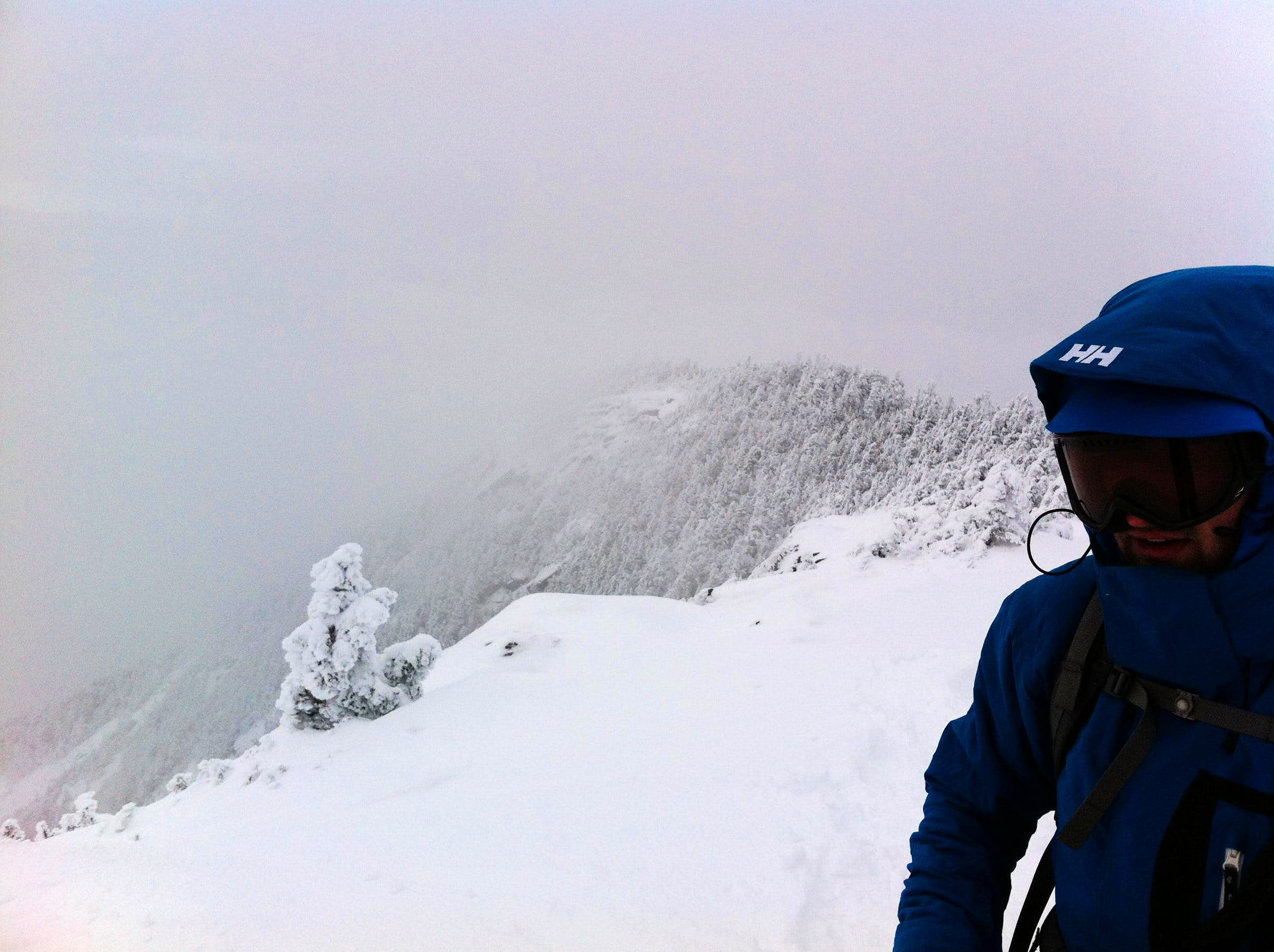 Climbing Giant mountain in winter