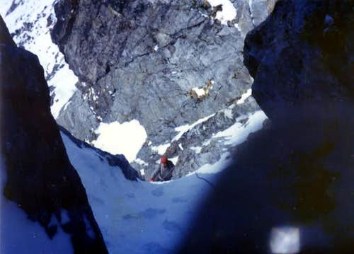 B. of Viou climbing in the middle part of SW Pillar 1976