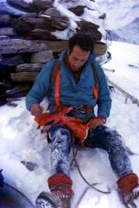 Becca di Viou After the First on Southwest Pillar 1976