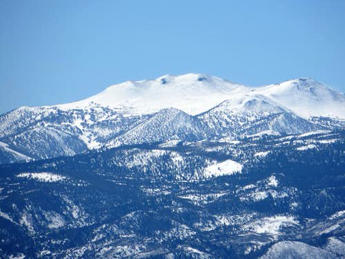 Zoom shot of Mount Rose from the Sun Valley hills
