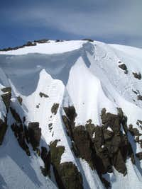 Cornice overhanging the East Face of Mt. Tallac