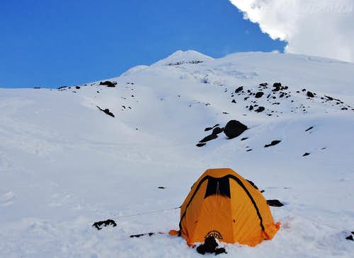 My tent and Cotopaxi's summit on the far back.