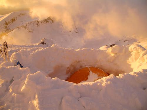 Our tent on the summit ridge of Polezhan