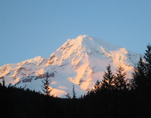 Mount Rainier seen from Longmire at sunset.
