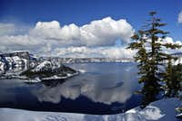 Crater Lake with clouds