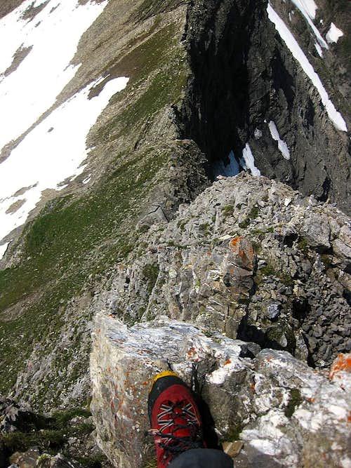 Exposure on the west ridge of Schwarzhorn