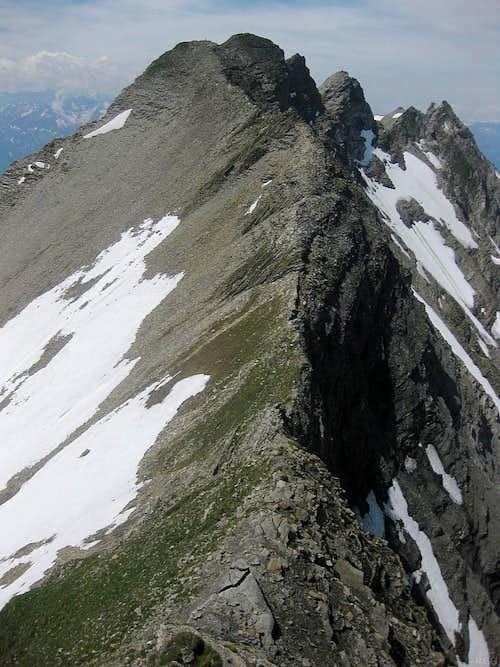 Vorder Grauspitz from somewhere on the steep west ridge of Schwarzhorn
