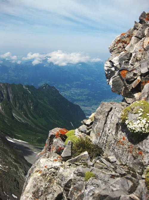 View down the Lawenatal from the west ridge of Schwarzhorn - <span style=