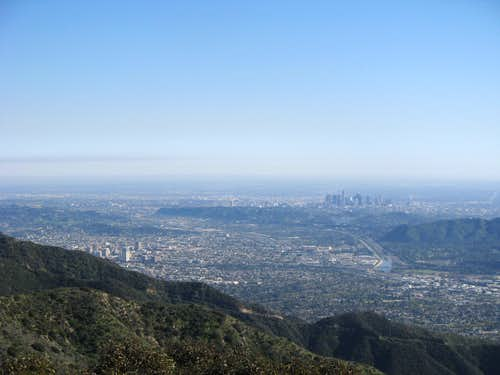 Wildwood Canyon Trail view of LA River and downtown LA