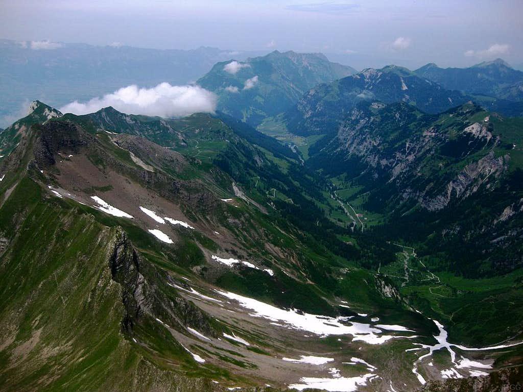 View down the Valünatal from Schwarzhorn