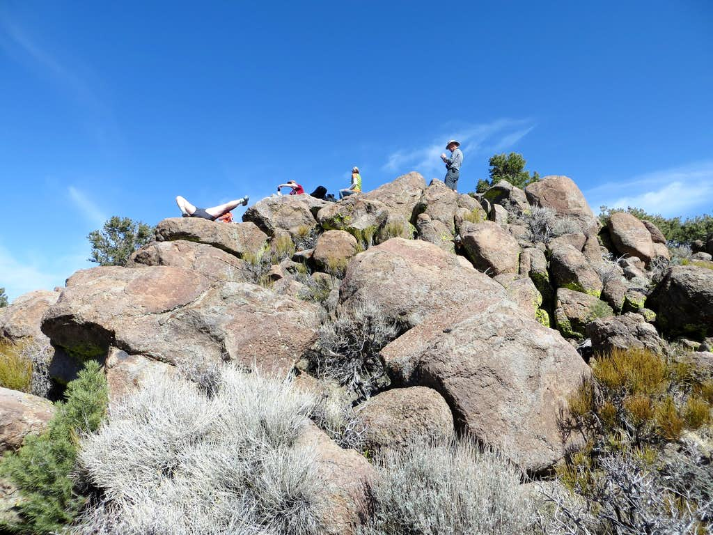 Looking up at the group on the summit