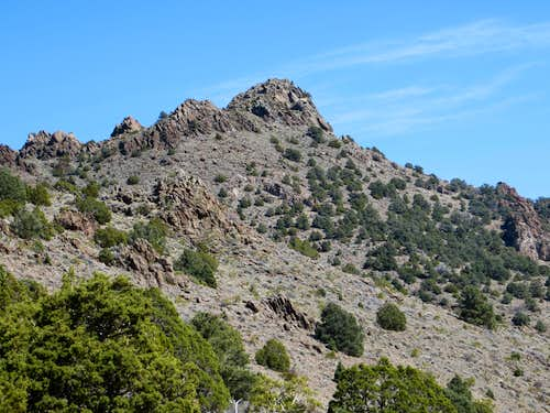 Zoom of Rocky Peak from the descent