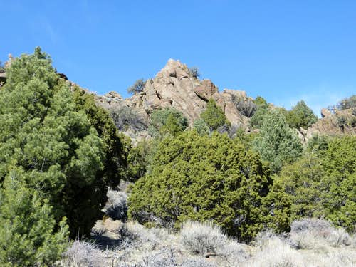 View of rock formation on descent of Rocky Peak