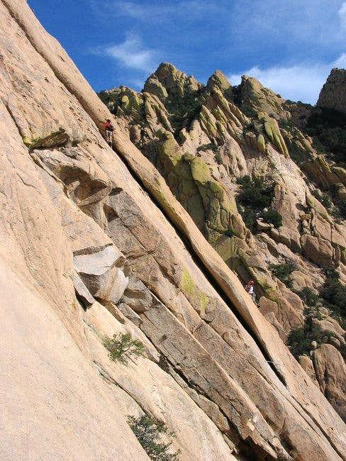 A climber (on right) at the...