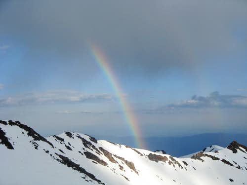 Rainbow at Avalanche Gulch Base Camp