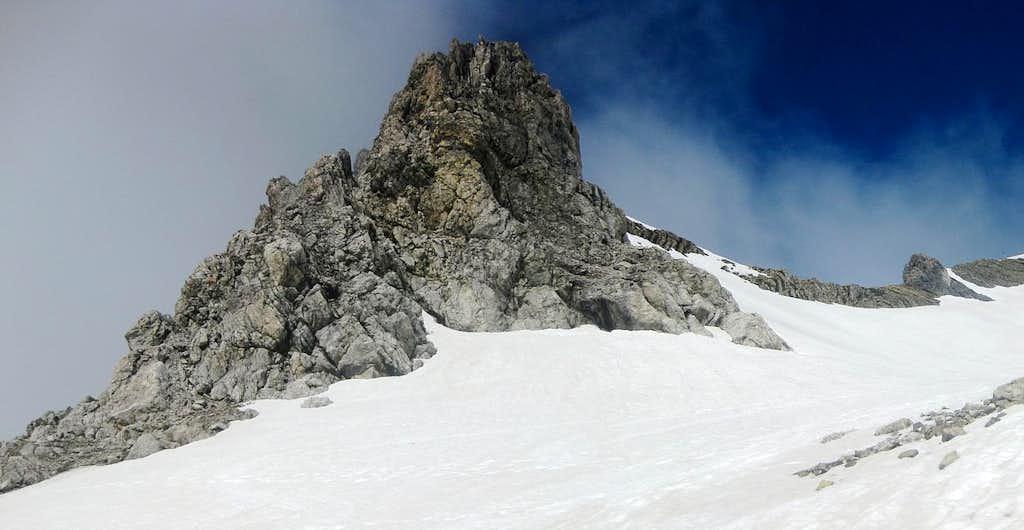 A rock outcrop high on the flanks of Schesaplana
