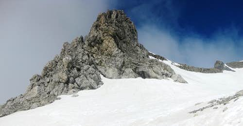 A rock outcrop high on the flanks of Schesaplana