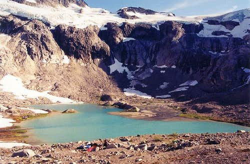 Ouzel Lake (5,700 ft) and our...