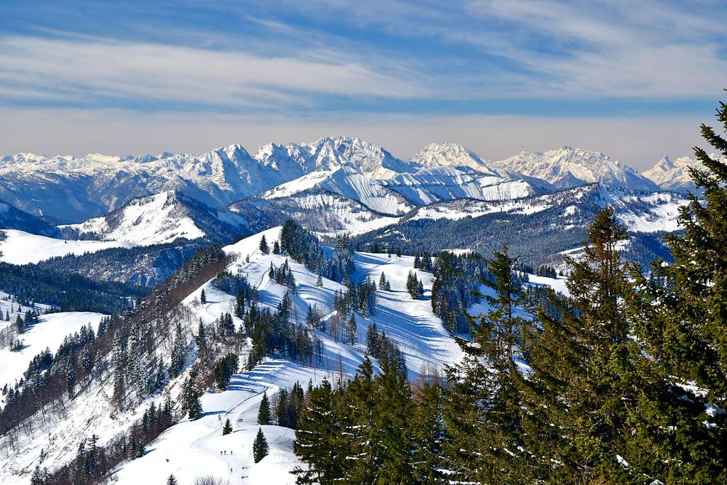 Winter view from the summit of Zwölferhorn.