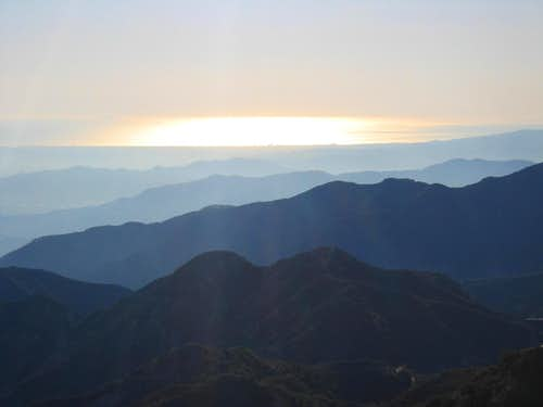 Sun on the Pacific Ocean and LA Hills
