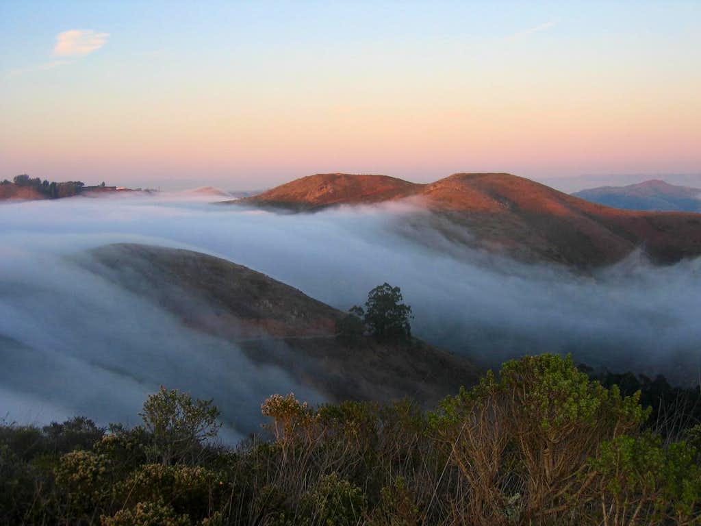 Fog Rolling Across Hills Seen from Hawk Hill