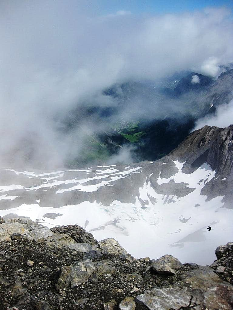 Looking down on the Brandner Glacier from Schesaplana