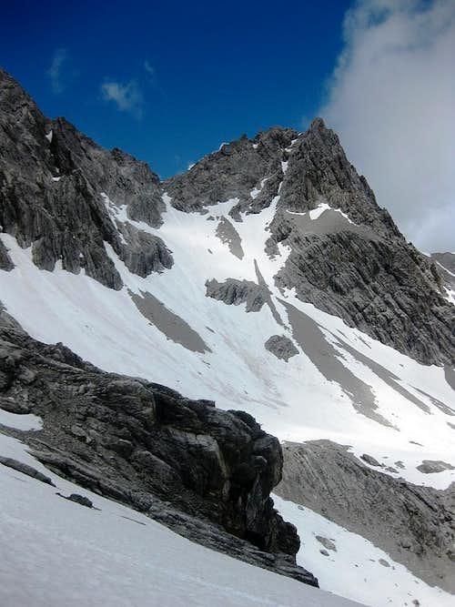 Zirmenkopf (2806m), a subsidiary summit on the northeast ridge of Schesaplana