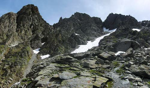 Panoramic view of the rough terrain just north of the Kapuzinerjoch