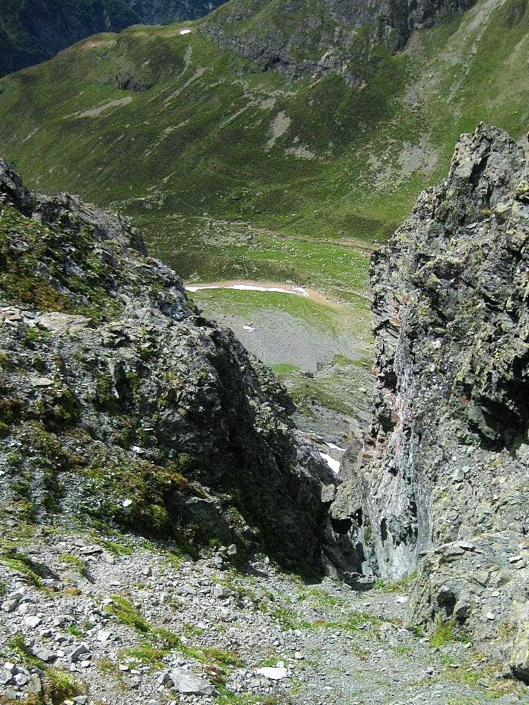 Looking down the steep northern side of the Kapuzinerjoch (2710m) to the Hundsbach Alm