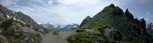 A sudden panorama on the Kapuzinerjoch