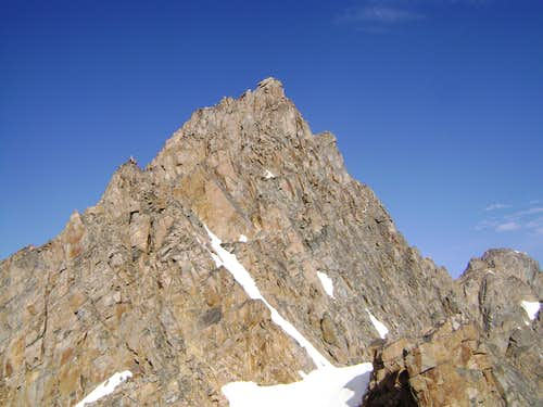 "Summit pyramid of Granite Peak seen from the ""snowbridge"""