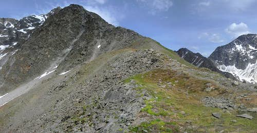 Looking up the Hohe Geige west ridge