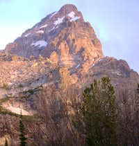The Grand Teton seen from Amphitheater Lake at sunrise