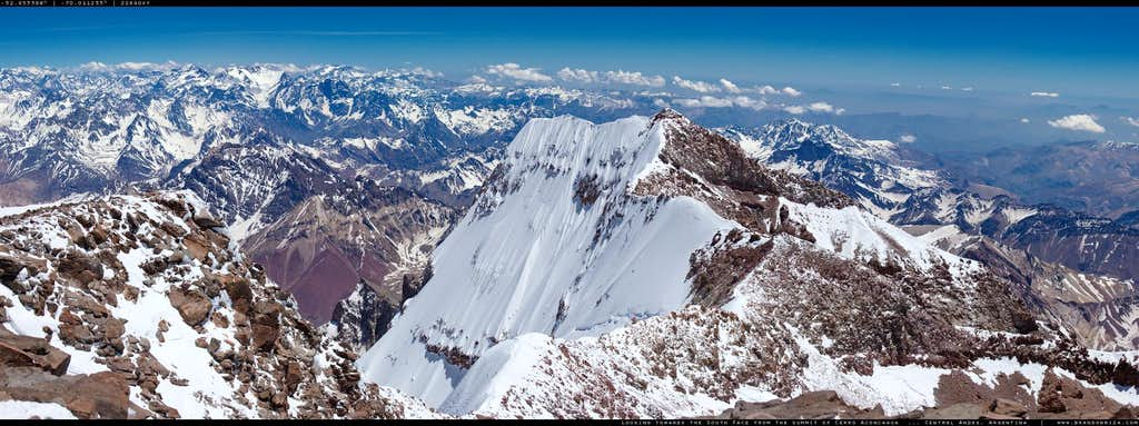 The South Face Of Cerro Aconcagua from the summit.